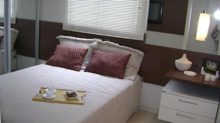 Cortina de um apartamento decorado da MRV em Fortaleza, CE.