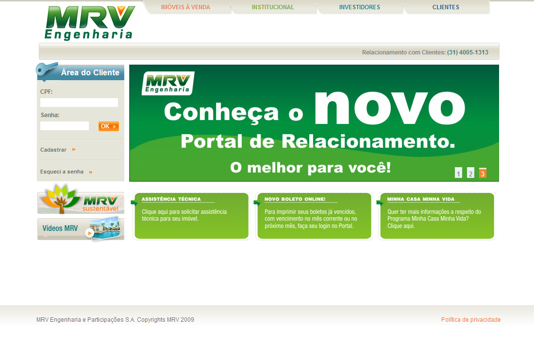 Esta no ar o novo Portal de Relacionamento com Clientes da MRV.