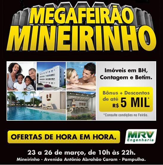 Mega Feirão Mineirinho, em BH, começa hoje 23/03