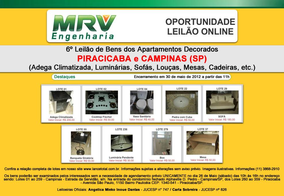 Leilão MRV em Campinas e Piracicaba / SP