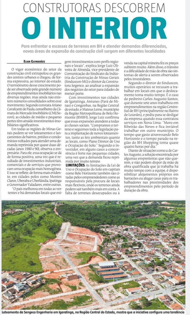 A MRV é destaque hoje no caderno Lugar Certo do jornal Estado de Minas