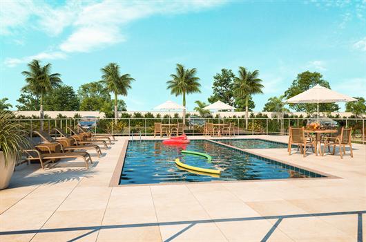 Área de lazer com piscina adulto e infantil no condomínio Vista dos Angelins em Manaus