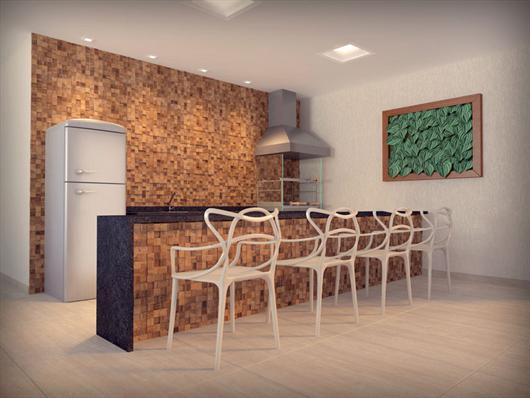 Área Gourmet com churrasqueira no espaço comum do condomínio Parque Monte Athos em São Carlos