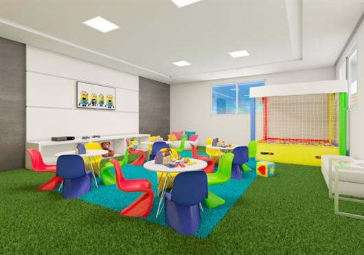 Espaço Kids coberto do condomínio fechado MRV na região do Iguatemi para as crianças brincarem