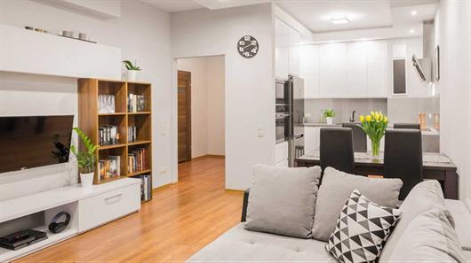 Sala de estar e de jantar integrada com a cozinha