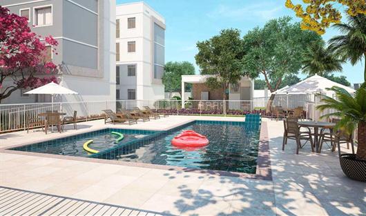 Área de Lazer com piscinas no condomínio Caminho das Orquídeas