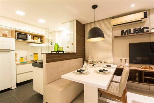 Otimizando espaço na cozinha de apartamento com canto alemão