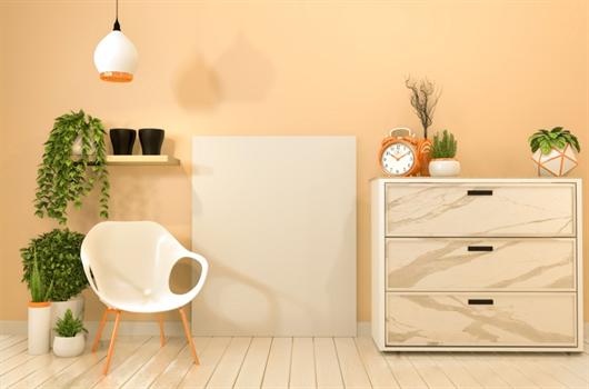 Sala de estar com gaveteiro organizador para melhor otimização do espaço