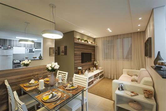 Sala de jantar do decorado em composição com a sala de estar
