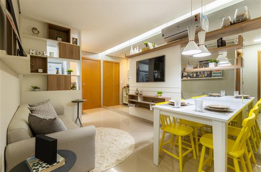 Mesa de jantar tem cantinho especial até em um apartamento pequeno