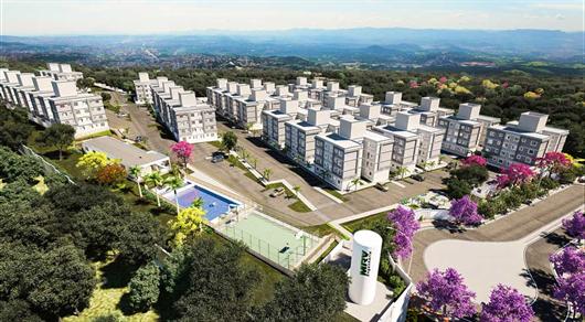 Foto aérea da perspectiva do condomínio Parque das Cachoeiras em Betim