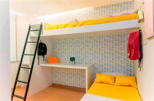 Quarto de adolescente decorado em um apartamento MRV
