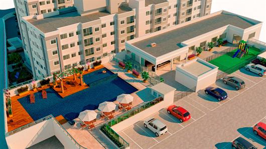 Imagem de perspectiva do Residencial Amaro do estacionamento e área de lazer